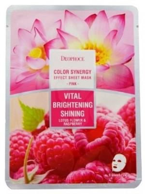 Маска с лотосом и малиной DEOPROCE Color synergy effect sheet mask pink 20г: фото