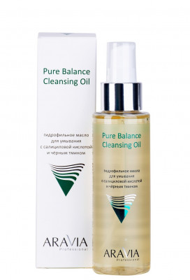 Гидрофильное масло для умывания с салициловой кислотой и чёрным тмином ARAVIA Professional Pure Balance Cleansing Oil 110 мл: фото