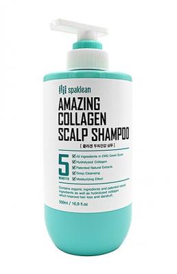 Шампунь для кожи головы с коллагеном Spaklean Amazing collagen scalp shampoo 500мл: фото