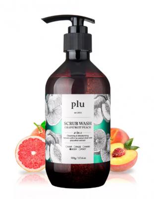 Скраб-гель для душа персик и грейпфрут PLU Scrub wash grapefruit peach 500г: фото