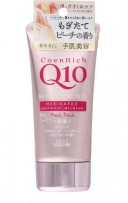 Крем для рук повышающий упругость кожи с ароматом персика Kose Coen rich Q10 fresh peach 80г: фото