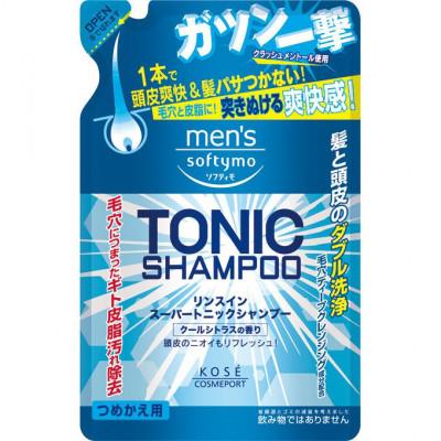 Шампунь для волос с цитрусовым ароматом Kose Men's softymo tonic shampoo 400мл: фото