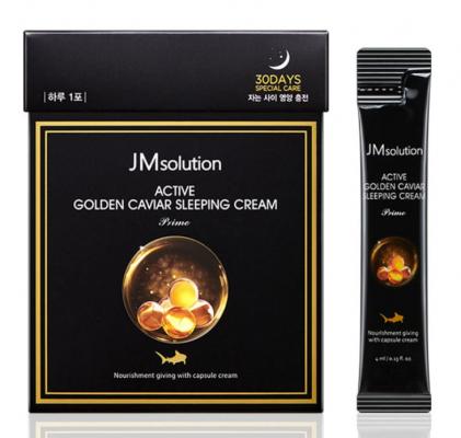 Маска-крем ночная с золотом и икрой JMsolution Active golden caviar sleeping cream prime 4мл*30шт: фото
