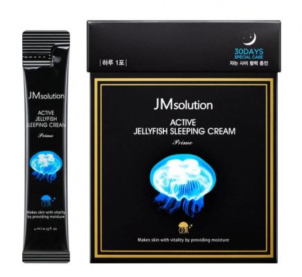 Маска ночная увлажняющая с медузой JMsolution Active jellyfish sleeping cream prime 4мл*30шт: фото